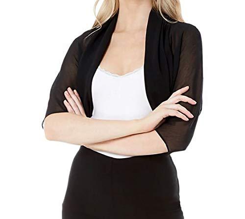 Flora Black Chiffon Shrug/Bolero/Jacket,1/2 Sleeve (Large-XLarge)