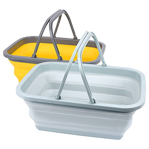 Magesh Collapsible Sink 2 Pack - Outdoor Camping Picnic Basket Each 11L/2.90Gal Wash Basin, Portable Foldable Tub/Basin/Bucket with Sturdy Handle for Washing Dishes, Camping, (Blue Gray and Yellow)