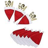 BELLE VOUS Porta Cubiertos Navidad (20 Piezas) - Mini Sombreros Navidad Funda Porta...