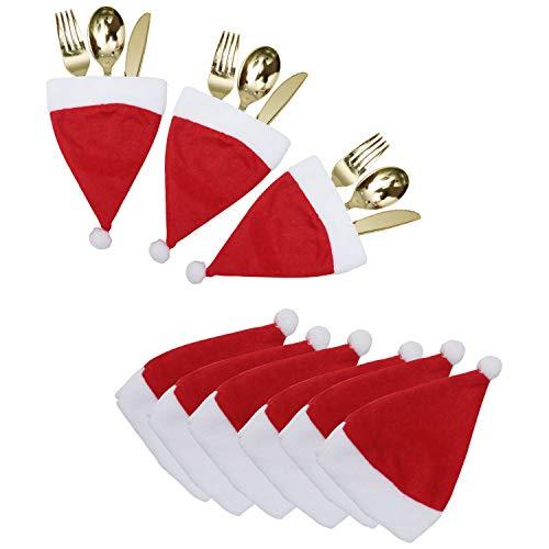 Portaposate Natale (20pz) - Porta Posate Natalizio Forma Mini Cappelli Babbo Natale -...