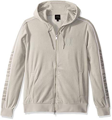 Armani Exchange A|X Herren Velour Zip Up Hoodie Sweatshirt, Mirage Grau, Groß