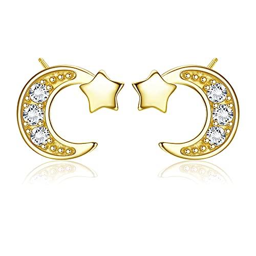 KALVICA Plata de Ley 925 Pendientes Oreja Mujer Circón Aretes Estrella y Luna Hipoalergénico Aretes Niña 2 Colores en Oro Blanco Dorado
