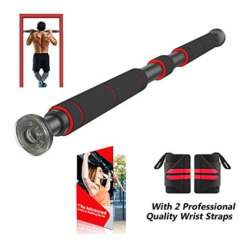 AmazeFan Pull Up Bar for Doorway | Chin-Up Bar with Extended Hand Grips - 2 Professional Quality Wrist Straps, Trainer for Home Gym Exercise,26 to 39 Inches Adjustable Length
