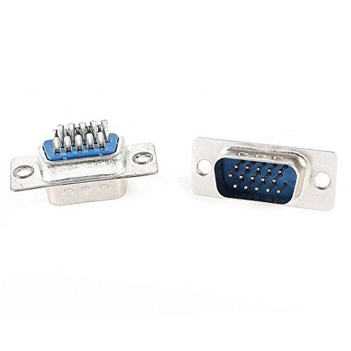 2 Pcs Soldering DB15 DB-15 Male Pin VGA D-Sub Connector Adapter