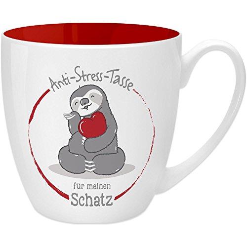 Gruss & Co 45520 Anti-Stress Tasse für den Schatz, 45 cl, Geschenk, New Bone China, Rot, 9.5 cm