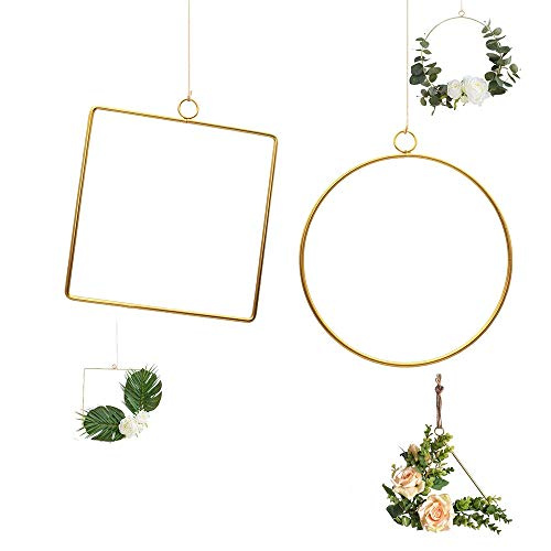 zfdg Geométrico Floral del Aro, 2 Piezas Oro Geométrico Floral Aro, Aro Floral Grande Metal Anillos, para Decoración Puerta Principal del Fondo Boda, Decoración Pared del Hogar (Dorado)