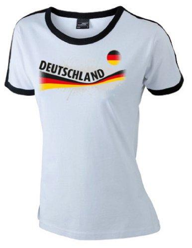 Fruit of the Loom world-of-shirt Damen T-Shirt Deutschland Vintage Retro Shirt|weiß L|KT16