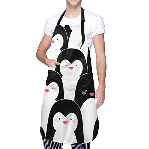 Delantal con diseño de pingüinos en blanco y negro con impresión única para mujeres y hombres