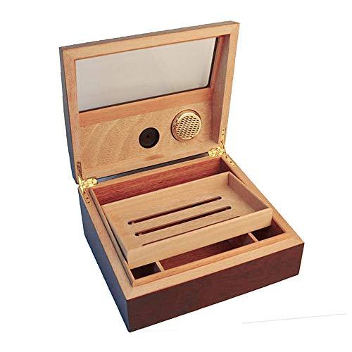 PIPITAグラストップシガーヒュミドールシガーホルダー葉巻ケース湿度計と加湿器付きトレイと調整可能な仕切り杉の木デスクトップシガーヒュミドール葉巻30-40本