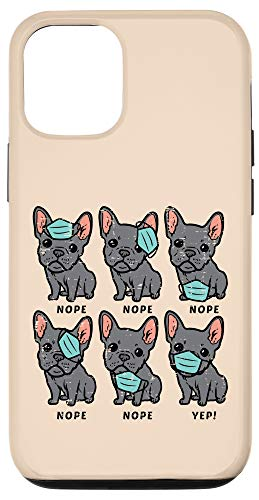 iPhone 12/12 Pro French Bulldog In Mask Funny Frenchie Quarantine Dog Gift Case