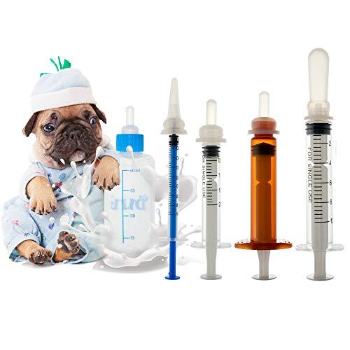 Pet Gatto di cane Biberon. Pet Syringe. Biberon per cani e gatti. Capezzoli in silicone per animali domestici e animali selvatici (1ml+2ml+5ml+10ml+60ml)