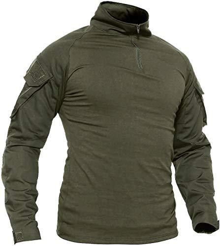 TACVASEN Camping Shirt Herren Longsleeve Slim Fit T-Shirt Sport Shirt Jagd Angeln T Shirt Berg Wandern Shirt Atmungsaktiv Langarm Tshirt Leicht Sweatshirt Grün Armeegrün L