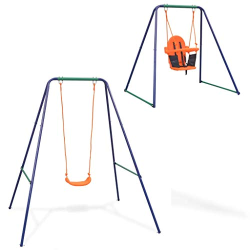 Cikonielf Columpio individual y columpio de niños 2 en 1, columpio de jardín, columpio de exterior, asiento con respaldo alto, robusto y resistente a la intemperie, color naranja