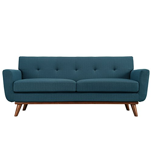 Modway Engage Mid-Century Modern Upholstered Fabric Loveseat In Azure