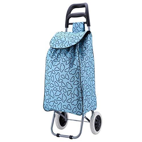 SYue Einkaufswagen Einkaufswagen für Lebensmittel mit Rädern Tragbare Klappstange Kleiner Wagen Waschbarer Beutel Wagen Haushaltswagen