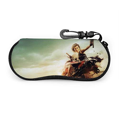 HGFK Milla Jovovich Resident Evil Estuche para gafas, Estuche para gafas de sol, Estuches para gafas con cremallera de goma