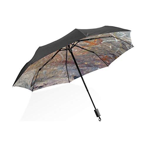 Paraguas divertidos para hombres Pintura aborigen Pintura rupestre Australia Outback Portátil Paraguas...