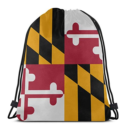 Flag Of Maryland A State Of United States Gym Sack Drawstring Bag Portable Drawstring Cosmetic Travel Bag For Gym Outdoor Travel