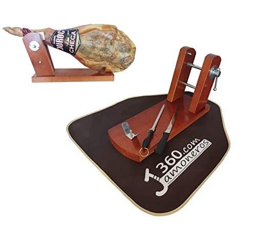 Dreamstone - Supporto per prosciutto modello Bodega con facile serraggio a vite + coltello + acciao