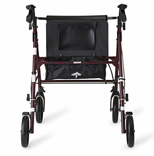 Medline Heavy Duty Rollator Walker with Seat, Bariatric Rolling Walker Supports up to 500 lbs, Large 8-inch Wheels, Burgundy