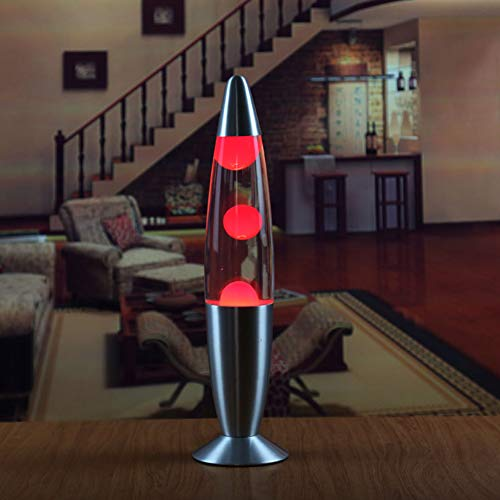 Alician Lavalampe mit Metallsockel, Wachs-Lampe, Nachtlicht für Schlafzimmer, Dekoration, europäische Verordnung, rotes Wachs, Heimdekoration