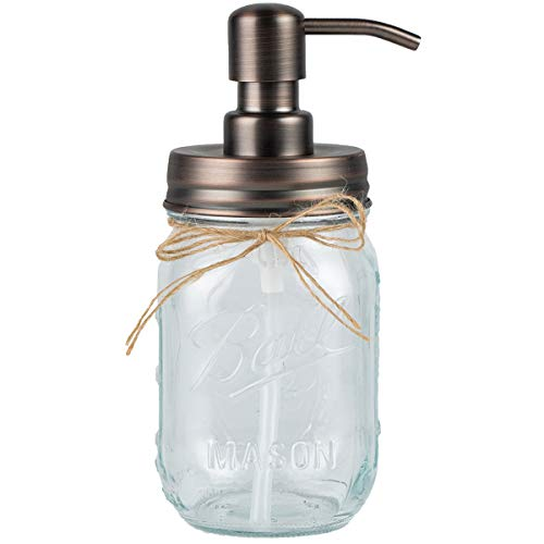 Plomkeest 480ml Einmachglas Seifenspender Klarglas Glas Seifenspender mit rostfreiem Edelstahlpumpe Flüssigseifenspender für Badezimmer, KitchenDecor Ideal für Lotionen, Flüssigseifen (Kupfer)