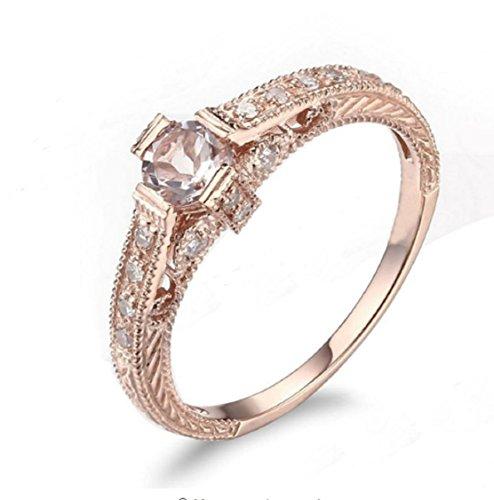 Gowe massiv 10K Rose Gold Art Deco 4,5–5mm rund Morganit Verlobungsring Hochzeit Ring Edelstein Schmuck, natürliche Diamanten feine Ring