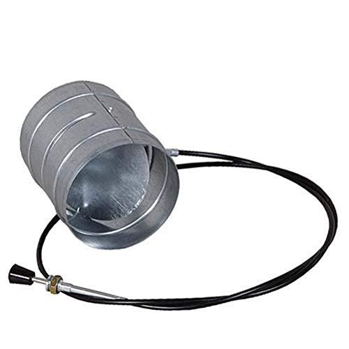 Drosselklappe 100 mm mit Fernbedienung/Regulierung per Bowdenzug Seilzug Lüftung Zuluft Ofen Kamin verzinkt