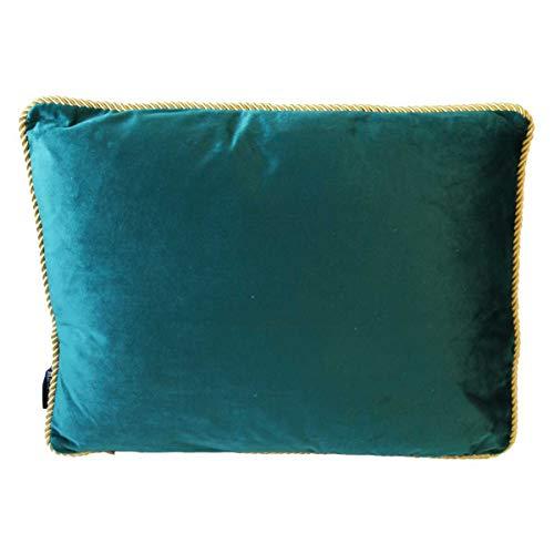 440s kussen met gouden paspeling, fluweel, petrol blauw, ca 35x45 cm   MM-DCFGHKPT   8716522063547