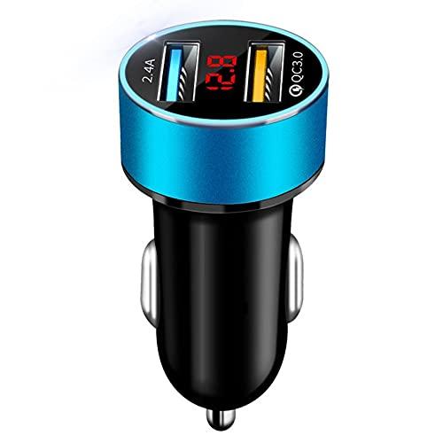 Accesorios para automóvil Pantalla Digital USB Dual Cargador de automóvil Encendedor de Cigarrillos portátil para automóvil con Pantalla LED Cargador de automóvil