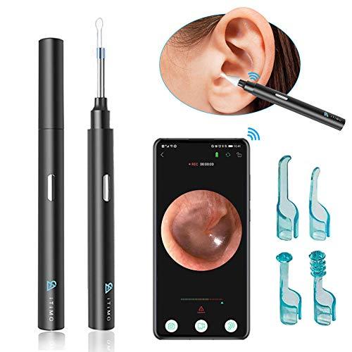 Cleaner HD Spade Ear, WiFi Kit di rimozione della cera  otoroscopio del wifi, otoscopio senza fili  orecchio senza fili di 1080p con luci a 6eled