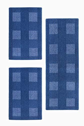 andiamo, tapijt plat weefsel Dalia duurzaam, getest op schadelijke stoffen 1x 67 x 200 cm + 2x 67 x 120 cm blauw