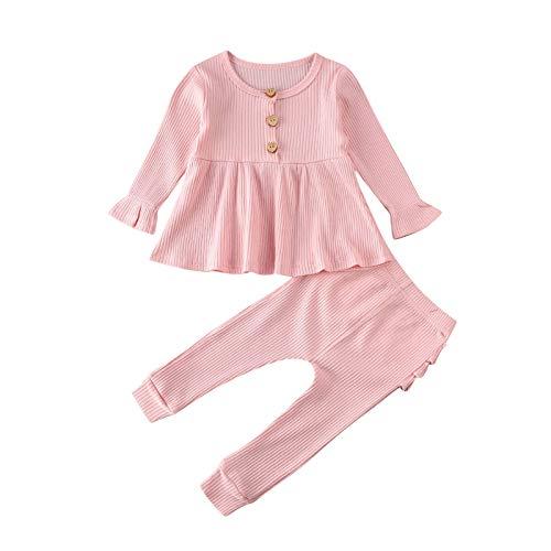 CiKiXZ Baby Mädchen Strick-Top, Kleid, Rüschen, Leggings, Hosen, Langarm, Outfit-Set, Nachtwäsche, Pyjama
