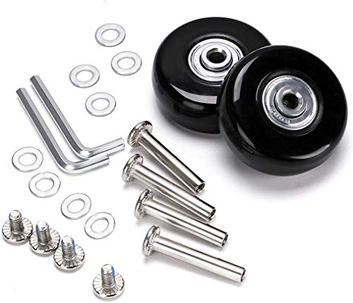 F-ber Luggage Suitcase Wheels Replacement Kit 64mm x 18mm with ABEC 608zz Inline Outdoor Skate Replacement Wheels, One Set of (2) Wheels (OD:64 W:18 ID:6 Axles:30 & 35mm)