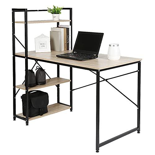 Escritorio de Oficina, Mesa para Ordenador, 120 * 64 * 121 cm, Tablero de partículas + tubería de Acero, con 3 estantes