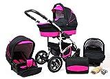 Cochecito de bebe 3 en 1 2 en 1 Trio Isofix silla de paseo New L-Go by SaintBaby negro & fucsia 3in1 con Silla de coche