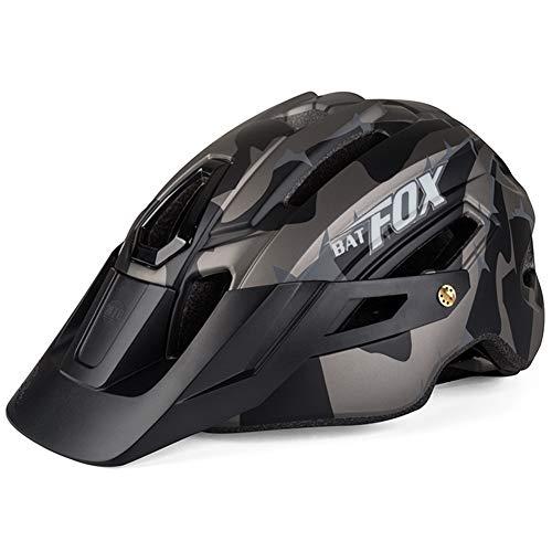 OMGPFR Casco De Bicicleta MTB para Adultos, Casco De Seguridad para Montar Al Aire Libre con Luz De Advertencia Casco De Bicicleta De Montaña Integrado EPS 14 Vents,Negro
