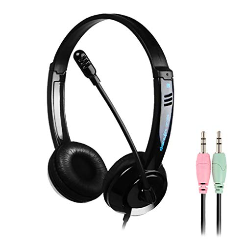 Ouniman Adjustable Gaming Headset, 3.5mm Plug Over-Ear Headphone, 7.1 Surround Sound Earphone with Noise Cancel Mic, Compatible with N-Switch, PS4, Xbox One, Laptops, Tablet(Black Dual Plug)