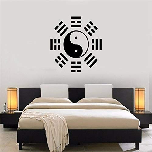Yologg 57X57 Cm Oriental Filosofía China Pegatinas De Pared De Vinilo Wallpaper Yin Yang Taiji Tatuajes De Pared Cultura China Decoración Mural Dormitorio