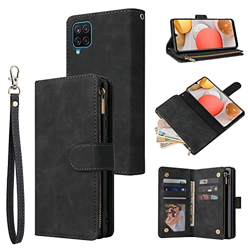 RANYOK Compatible with Galaxy A42 5G Wallet Case, Premium PU Leather Zipper Flip Folio with Card Slot Wrist Strap Magnetic Closure Built-in Kickstand Protective Case (Black)