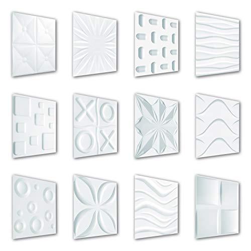 Hexim - Pannelli 3D 50 x 50 cm, per parete e soffitto con pannelli in polistirene espanso espanso espanso bianco (Wave, 50 m²)