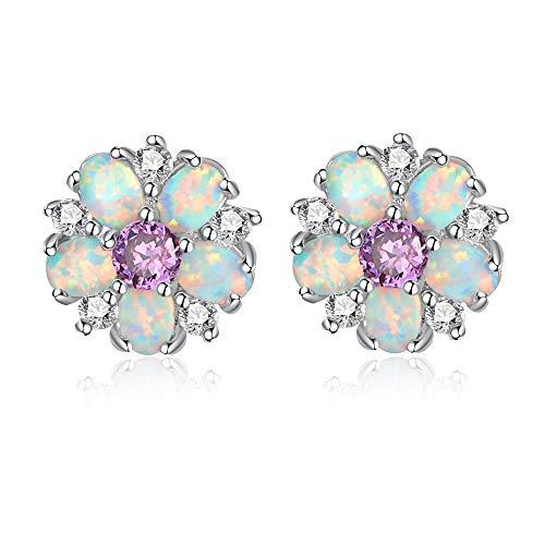 CiNily Flower Earrings,Purple Opal Stud Earrings Sterling Silver Plated Ladies Flower Stud Earrings Cute Unique Earrings for Girls