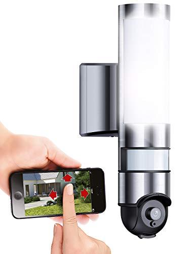 VisorTech Außenlampe mit Kamera: LED-Außenwandleuchte & WLAN-HD-Kamera mit PIR, Nachtsicht, PTZ & App (Lampe mit Kamera)