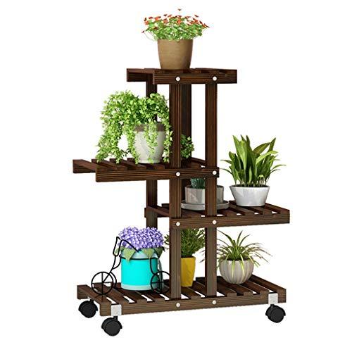 Brown Jardinière Fleur Plante Affichage Rack Multi-Couches avec Universal Rack Roue de Rangement for Salon Balcon Chambre d'étude Chambre (Color : Universal Wheel Version)