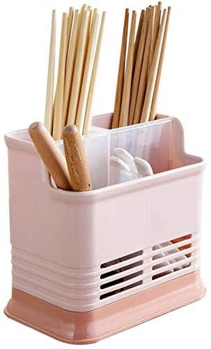 Escurridor de cubiertos de plástico WGL, soporte para rejilla, con 4 compartimentos, soporte para utensilios de cocina, soporte para cubiertos, escurridor, soporte para secado de platos, rosa