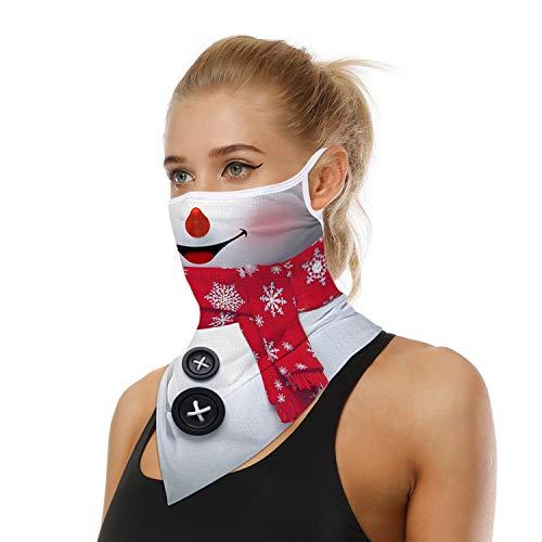 ARKIM Unisex Bandana Gesichtsmaske Schal Gesicht Rave Sturmhaube Hals Gamaschen Staubtuch Waschbare Wind Motorrad Maske Frauen Männer (Schneemann)