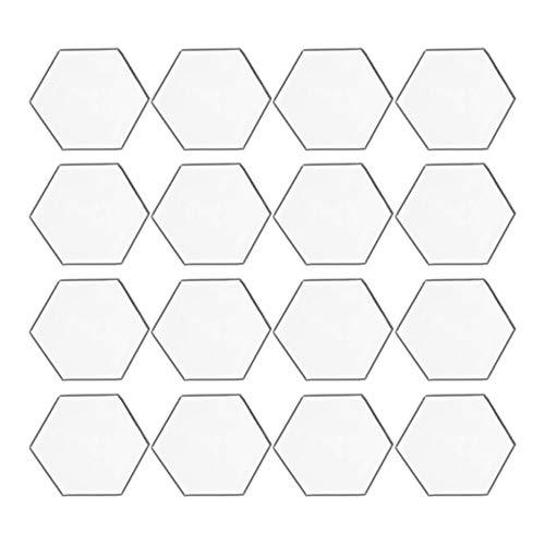 yyuezhi 12pcs Pegatinas Pared Espejo Hexagonales Espejo Acrílico Adhesivos de Pared Hexágono Hojas de Espejo Acrílico Autoadhesivas Pegatinas de Pared para Decoración de la Habitación