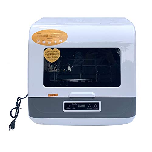 Cozyel Portable Countertop Dishwasher Multifunctional Compact Dishwasher with Inlet & Outlet Hose, 4 Washing Programs, Baby Care, Air-Dry Function, LED Display for Small Apartments, Dorms, RVs