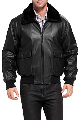 The Brand Game G1 Aviator Flight Bomber Jacket WWII Original Sheep Leather Jacket with Fur Collar (Black, Large)