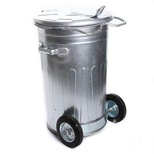 Mülltonne Müllbehälter Verzinkt 80L mit Deckel und Rädern Behälter Abfalltonne Müllgroßbehälter Stahlblech Metallbehälter